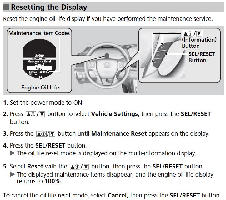 How to reset 2013 honda accord wrench light autos post for Honda crv wrench light