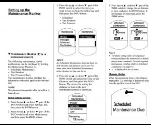 Maintenance Info Setup
